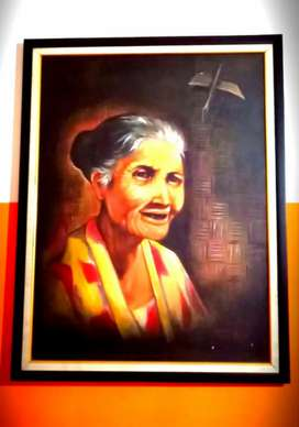 Lukisan Nenek Tersenyum Manis