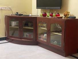 TV console for sale Wooden finish with rollers attached