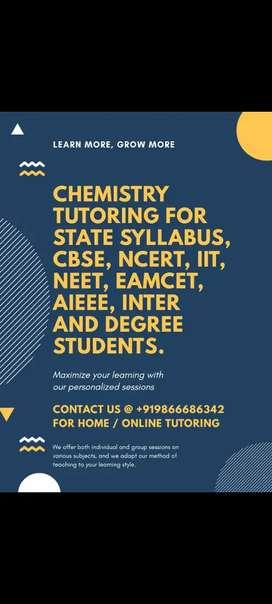 Chemistry Tuition  (IIT/NEET/ADVANCED/EAMCET/CBSC/NCERT/IPE-State)