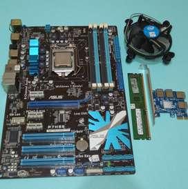 Paketan motherboard Asus P55 Core i3 530 mining btc eth 7 VGA Splitter