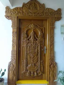 Teak wood doors with carving and Interiors with reasonable prices