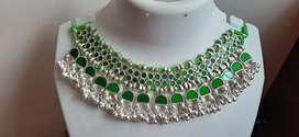 Germen silver Mirror work necklace