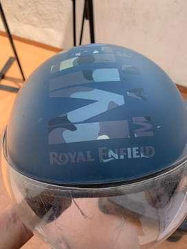 Genuine Royal Enfield half face helmet blue matte  (size: large)