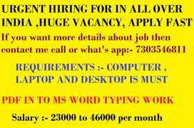 Wanted Part Time Home Based Data Entry Operators