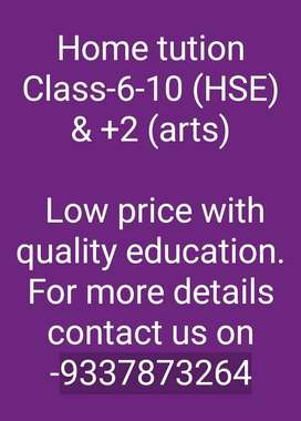 Home tution(Odia medium) from class 6-10 & +2 arts (all subjects)
