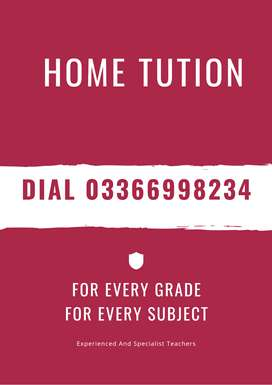 Home tuitors available for all Subjects