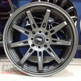 Pelg mobil racing murah ring 15 HSR wheel baut 4x100 dan 4x114,3 Grey