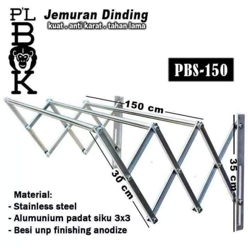Jemuran Stainless 3 Lonjor 1,5m nempel dinding 0