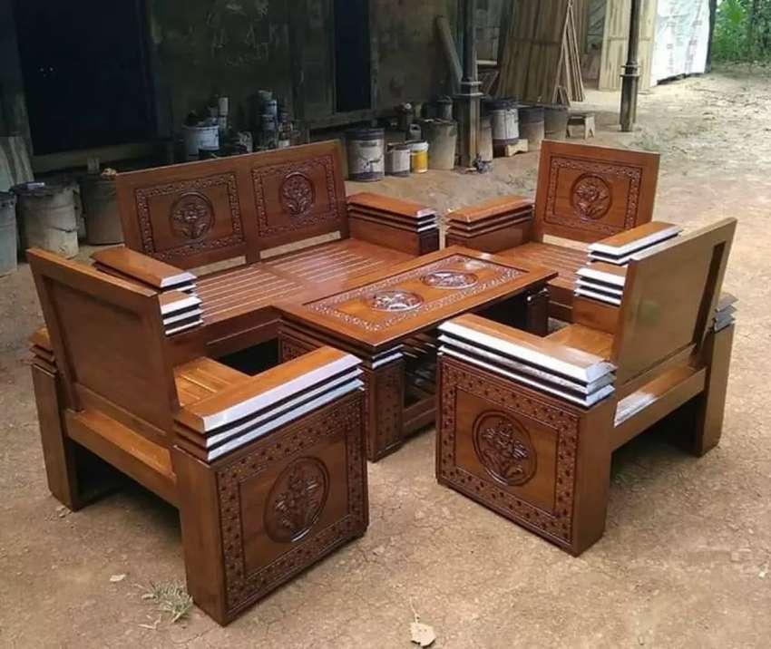 Kursi tamu tangan tumpuk bahan jati asli