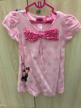 Dress olive oil pink ribbon size 2-3thn