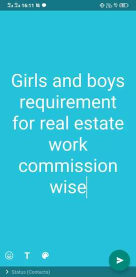 Girls and boys requirement real estate work commission wace