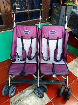 Roda dorong bayi kembar Stroller merk pliko