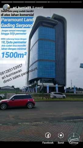 kavling komersial gading serpong 1000m2 15,5jt include ppn di jl utama