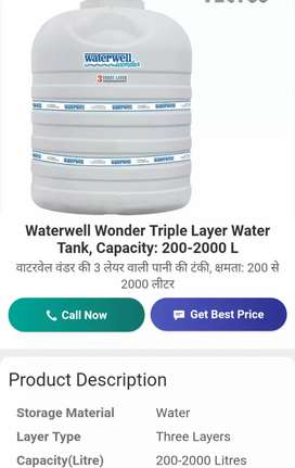 Water Tank Capacity 2000 Liter Qty 7 Discount MRP 66% Two Month Old