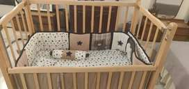 Baby cot with mattress and crib bedding set