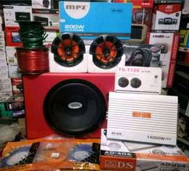 "Plus Pasang,Subwoofer+Power 4 Ch+Speker 6""+Tweeter+Box subwofer+Kabel"
