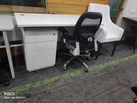 Office table. Featherlite Workstation with Pedestal and Wipro Chair