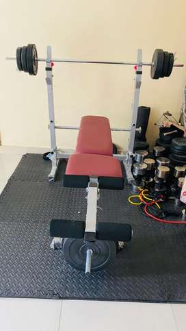 Gym Dumbbells Plates and Bench Rod Available at cheapest price