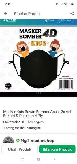 Masker Bomber anak no filter. Harga tertera untuk 1 pcs