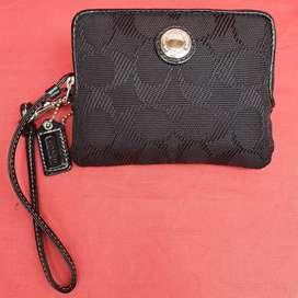Dompet import eks COACH pouch mini hitam kanvas mix kulit asli