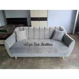 Scandi sofa 3 seater sandaran garis,BERGARANSI