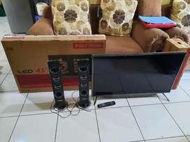 Tv LED 43 Polytron (PLD 43TS153) Speaker tower fullset harga 3,3jt