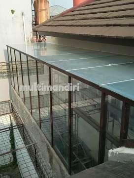 Pemasangan canopy atap kaca alderon spandex polycarbonate solartuf dll
