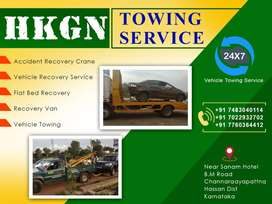 Accident Recovery Crane Vehicle Towing Service Hassan District