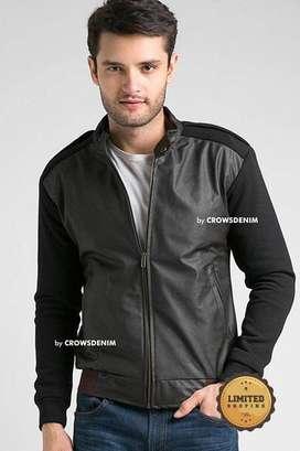 Jaket Comby Cotton Leather Dark Brown Style.jaket pria.