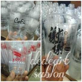 Jual gelas cup plastik berikut cetak logo custom