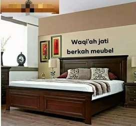 Tempat tidur minimalis mewah, 160x200, bahan kayu jati tua asli