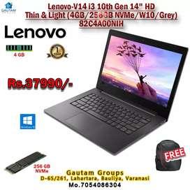 Lenovo laptop i3 10th gen 4 GB RAM 256 GB SSD win10 14inch screen bag