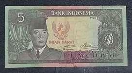 Uang kertas suekarno 5 Rupiah irian barat 1960 hijau