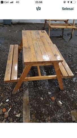 Jual set meja kayu dan set meja plastik