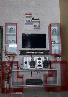 Rak TV minimalis di lapis hpl ukuran 80x160x40 bhan blokboor sama rak