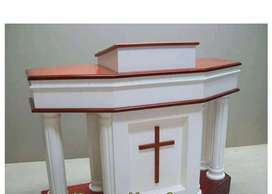 Mimbar podium gereja bahan baku kayu jati