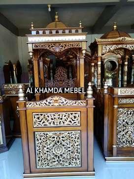 Mimbar masjid Ukiran kaligrafi free ongkir monggo ready