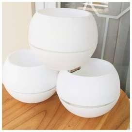 Pot Bola Vas Bunga Bulat Plastik Vase Anggrek Artificial White ID89