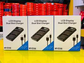 LCD display dual slot charger for FZ100 battery