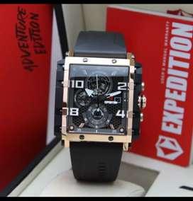 Jam tangan pria Expedition original exp6757 ros black tali Rubber