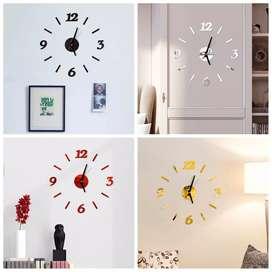 Jam dinding 3D akrilik 30-50 cm motif garis angka