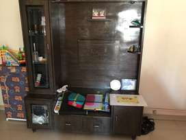 TV cabinet with glass shelf, hard plywood, decorative light, 5 yrs old