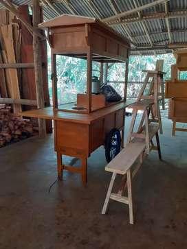 Gerobak Angkringan kayu Komplit Murah free ongkir Bogor, purwokerto.