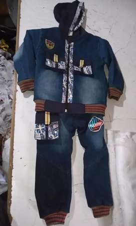 Kids denim jacket with jeans suit for wholesale