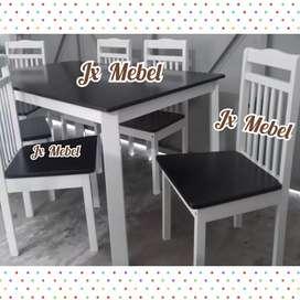 JX MEBEL Meja Makan Black White 6 Kursi ada M 1/2 Biro