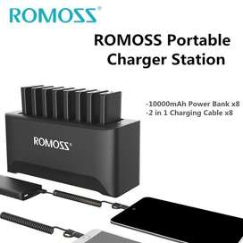 ROMOSS Powerful Charger Station for Family and Business 8PCS 10000mAh
