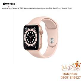 Apple Watch SE 44mm GPS Gold Aluminum Case with Pink Sport Band MYDR2