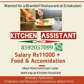 Kitchen Assistant for a Restaurant at Ernakulam