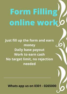 Good opportunity of working at home Form Filling online work students