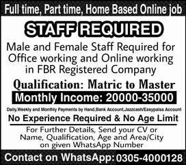 Part-time,Full-time,Home Based Online Jobs for Males,Females,Students